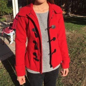 Hydraulic red toggle jacket wool coat